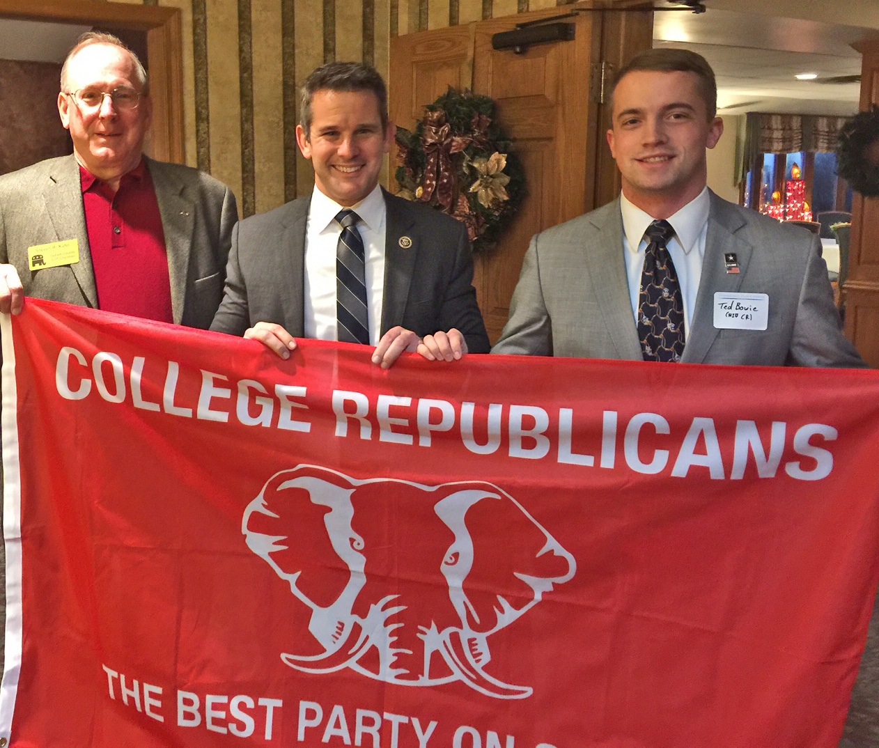 Chairman Kuhn with Congessman Kinzinger and NIU CR President Ted Bowie